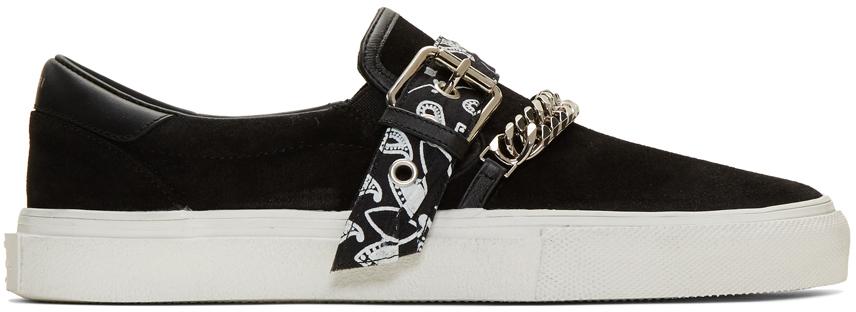 Amiri Sneakers Black Suede Bandana Buckle Sneakers