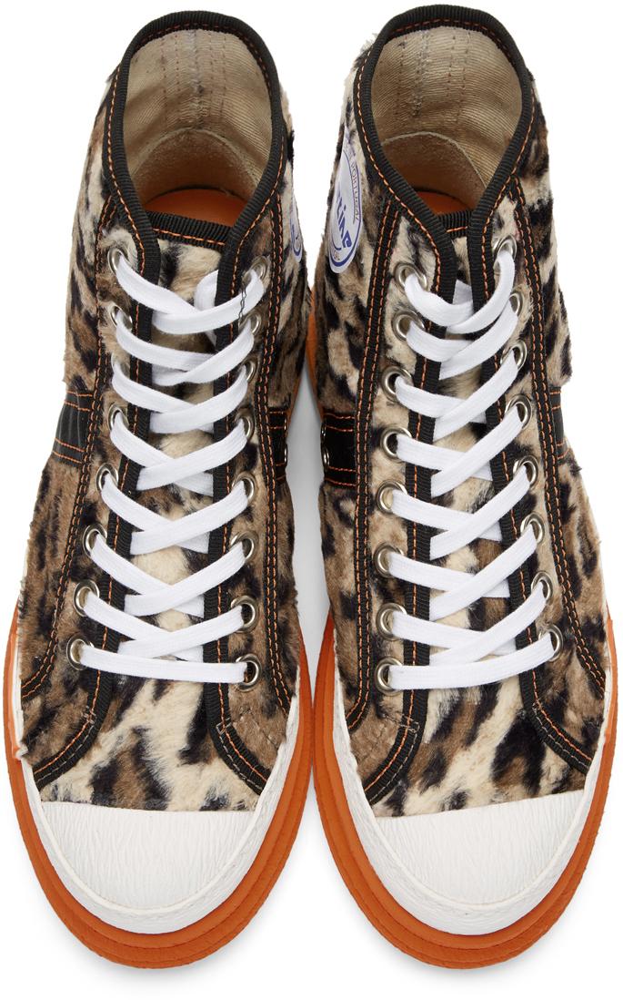 Martine Rose Sneakers Beige Leopard Basketball Sneakers