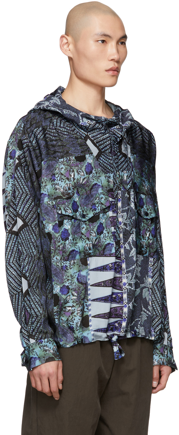 Martine Rose T-shirts Blue Mandela Hooded Shirt