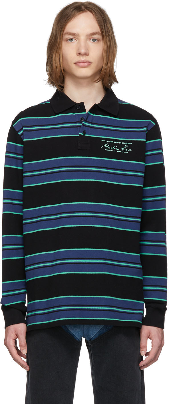 Martine Rose Accessories Blue Jacquard Long Sleeve Polo