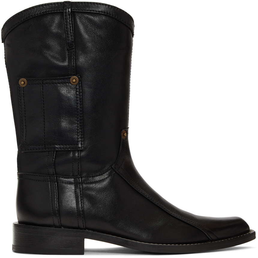 Martine Rose Boots Black Leather Cowboy Boots