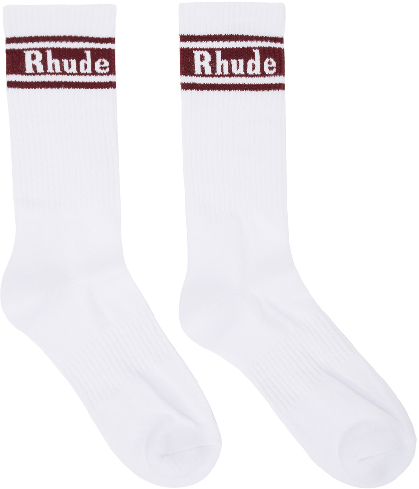 Rhude Socks White & Burgundy Logo Socks