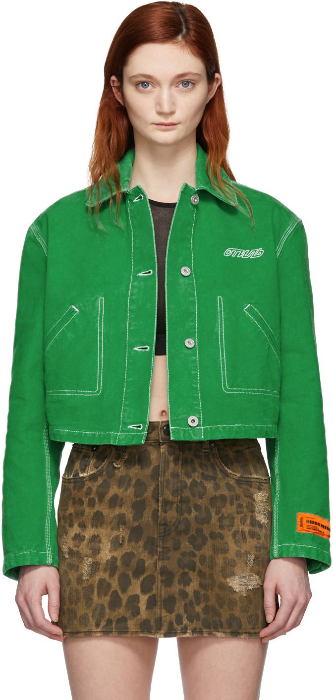 Heron Preston Jackets Green Denim Crop Jacket