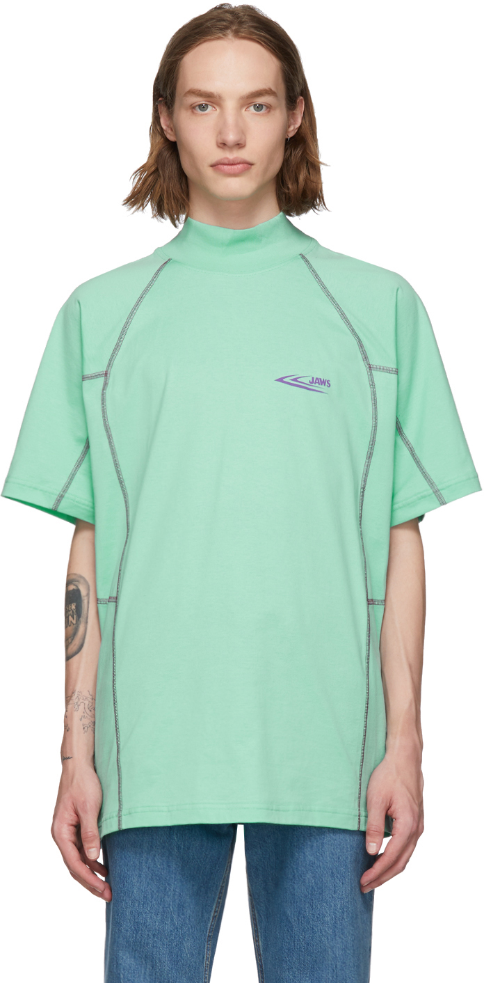 Calvin Klein 205w39nyc T-shirts Green Scuba Mock Neck T-Shirt