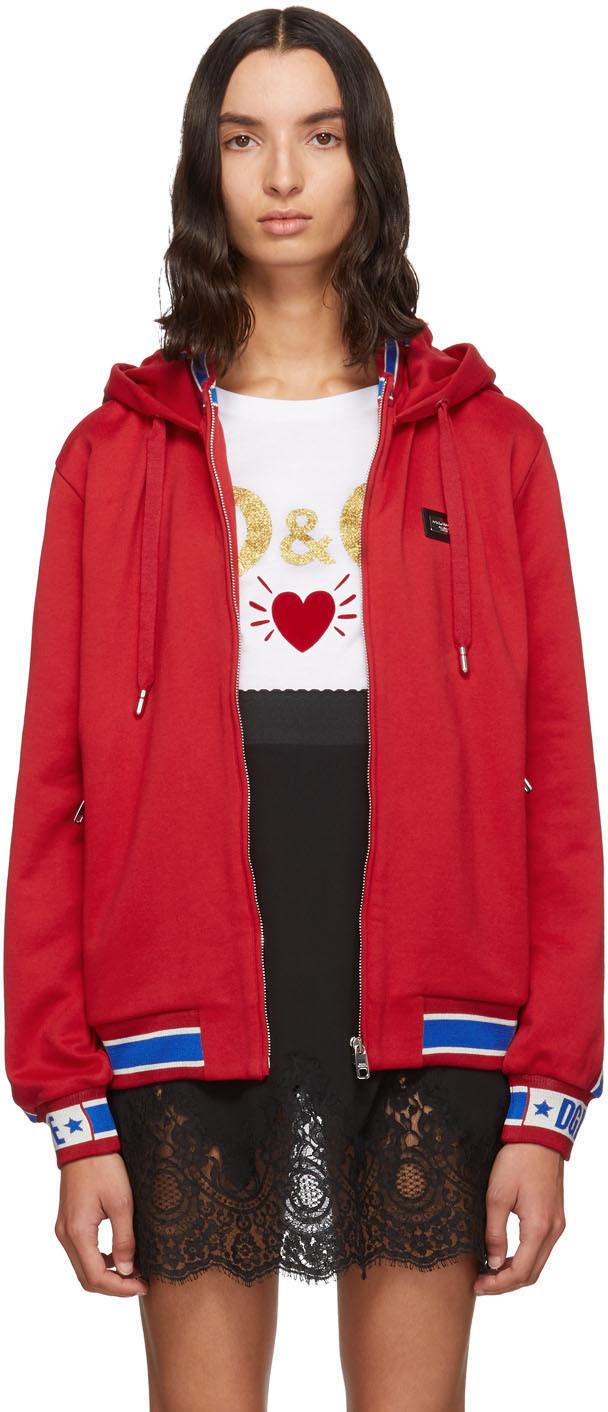 Dolce & Gabbana Accessories Red Track Hoodie
