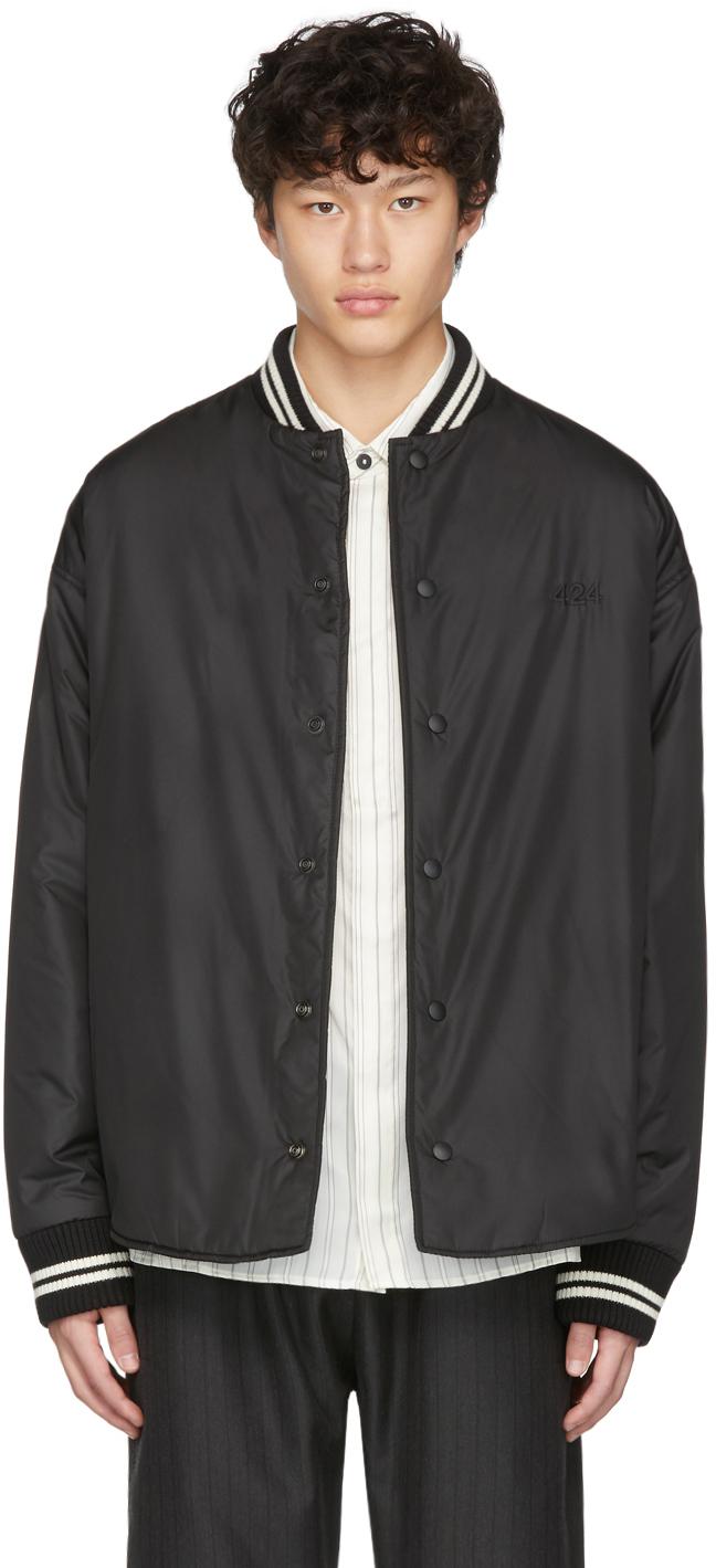 424 Jackets Black Varsity Bomber Jacket