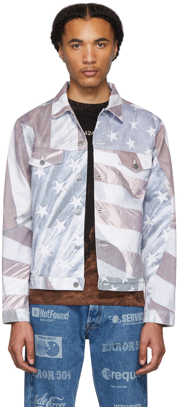 424 Jackets Multicolor Denim American Flag Jacket
