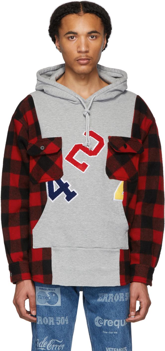 424 T-shirts Grey Wool Reworked Workshirt Hoodie