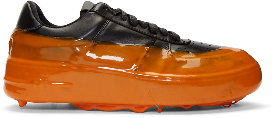 424 Sneakers Black & Orange Dipped Sneakers