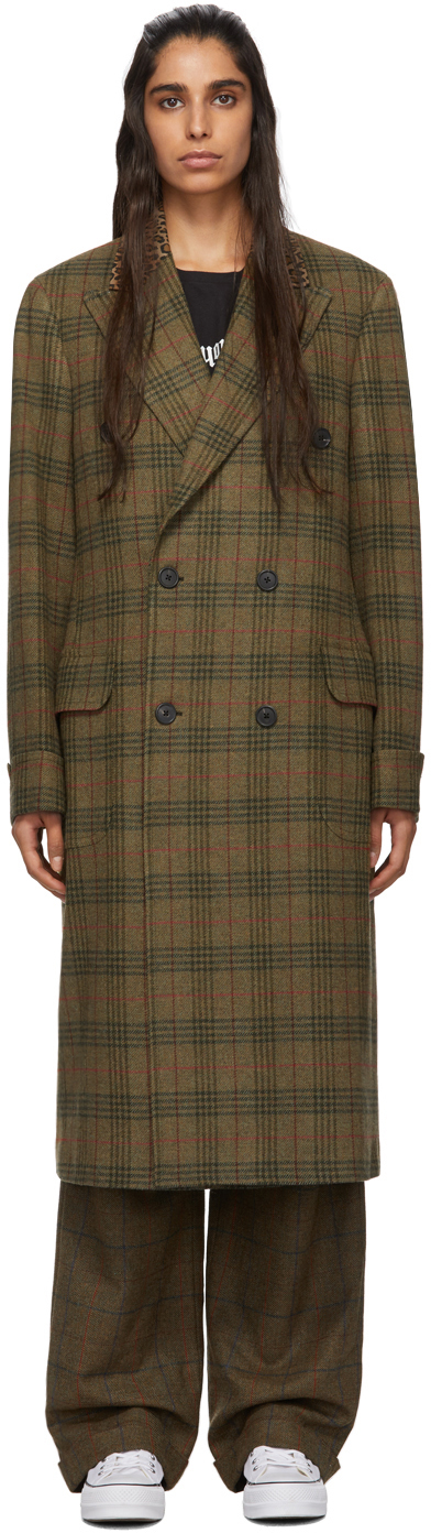 R13 Coats Green Plaid Double-Breasted Coat