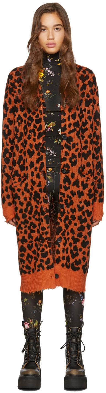 R13 Accessories Orange Leopard Cashmere Long Cardigan