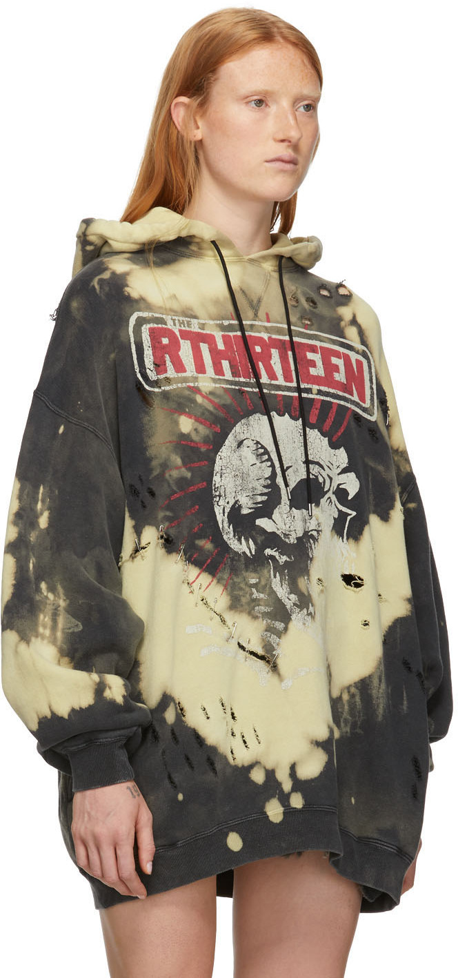 R13 Accessories Black & Yellow Oversized Exploited Punk Hoodie