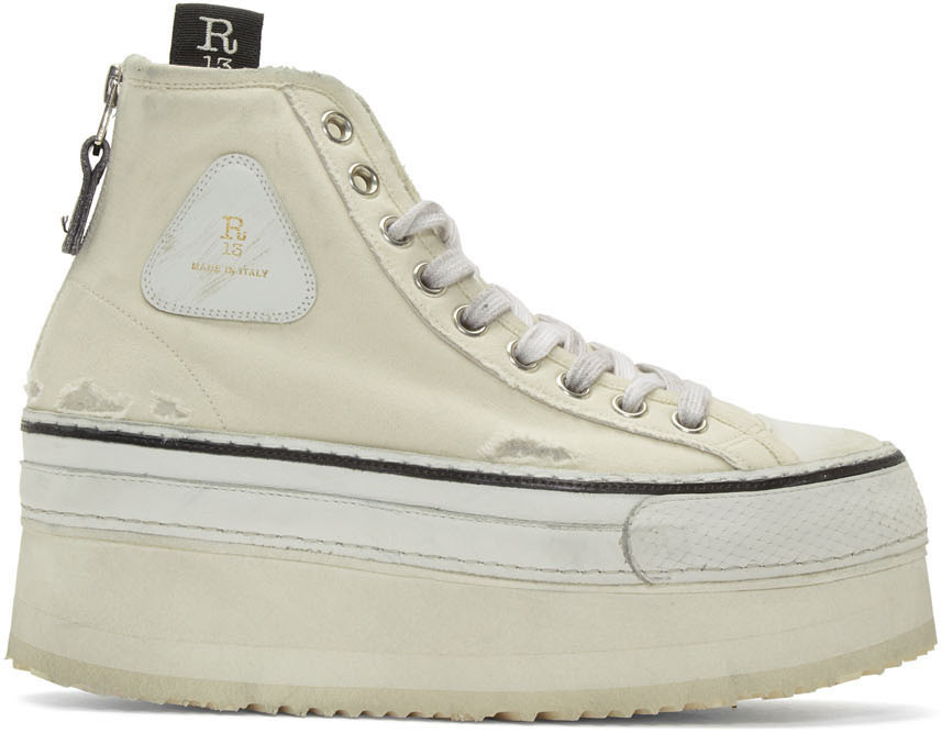 R13 Platforms Off-White Platform High-Top Sneakers