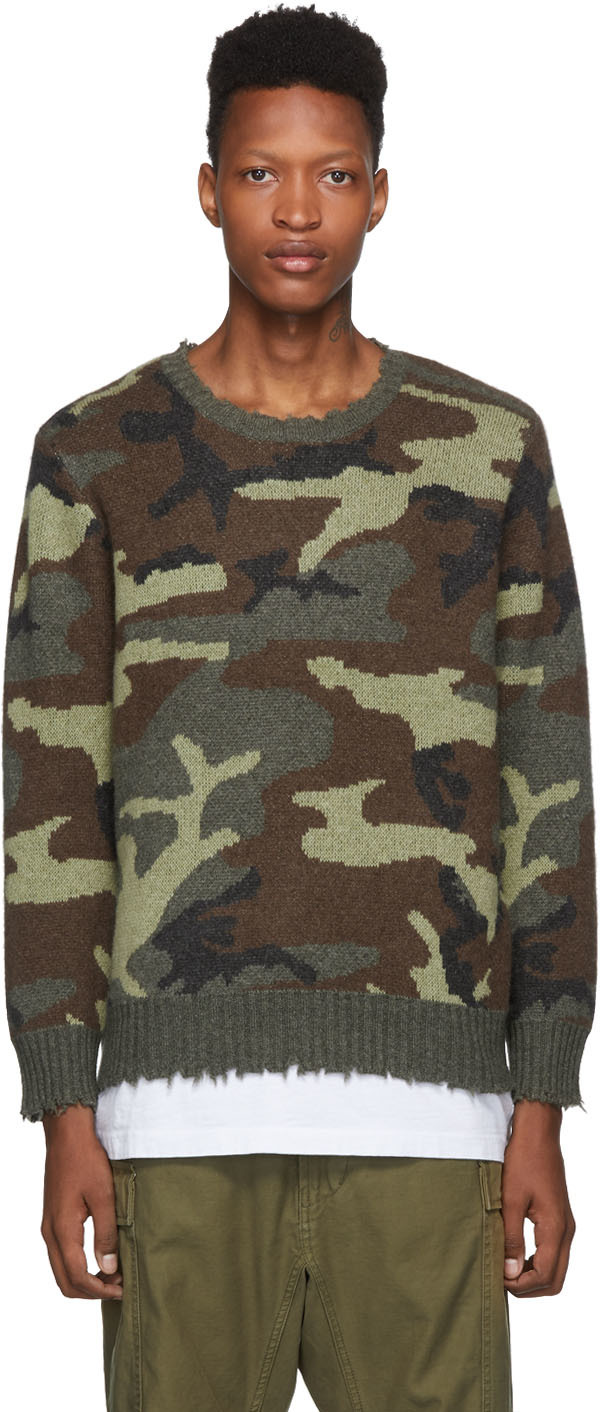 R13 Sweaters Green Camo Cashmere Sweater