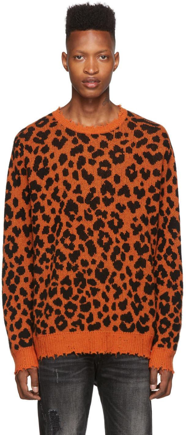 R13 Sweaters Black & Orange Leopard Crewneck Sweater