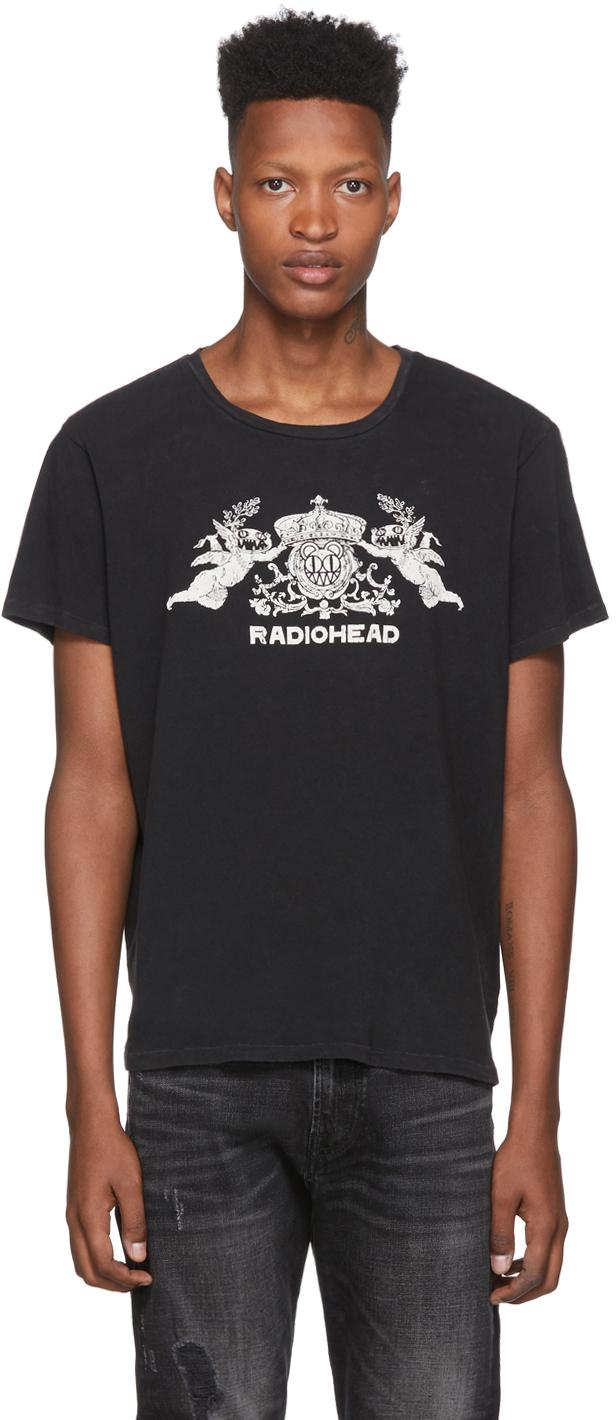 R13 T-shirts Black Radiohead Edition Bearhead Crest T-Shirt