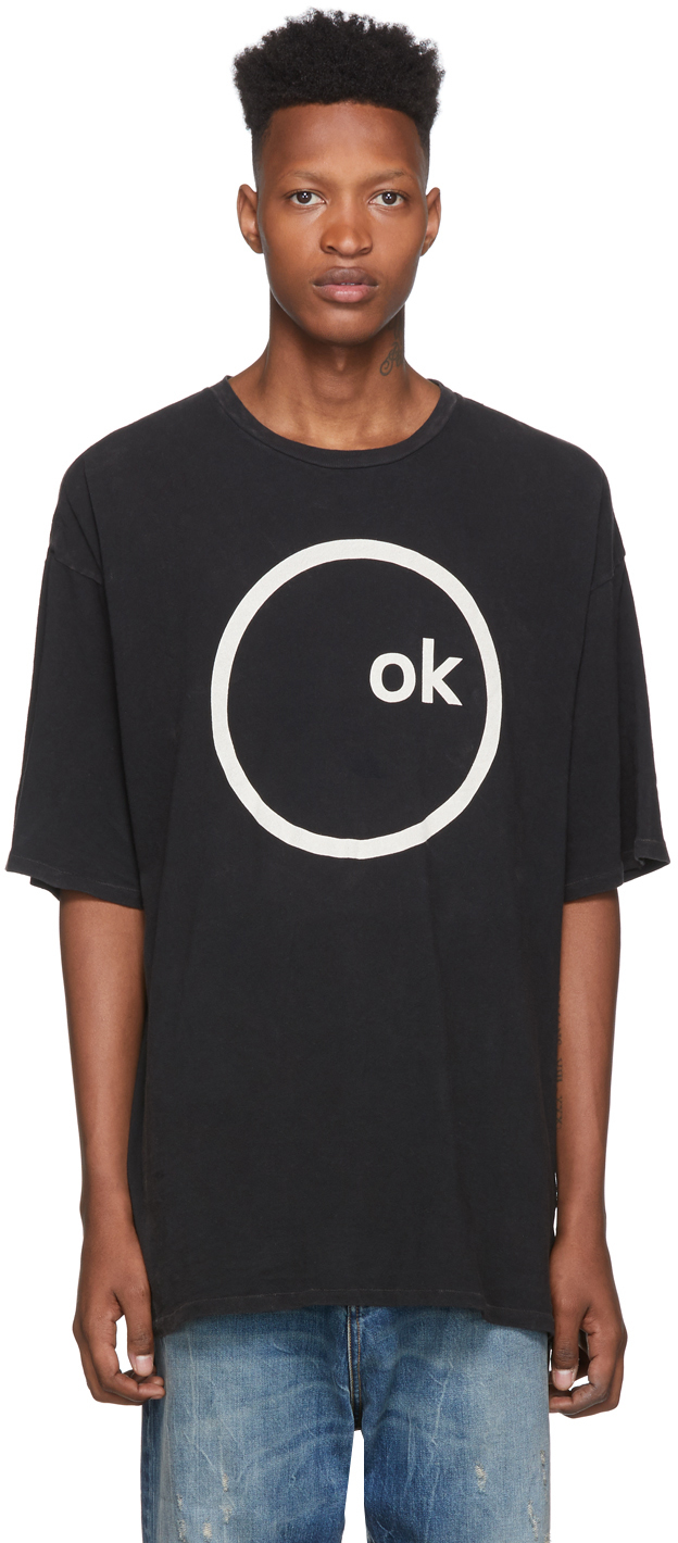 R13 T-shirts Black Radiohead Edition Oversized Ok Computer T-Shirt