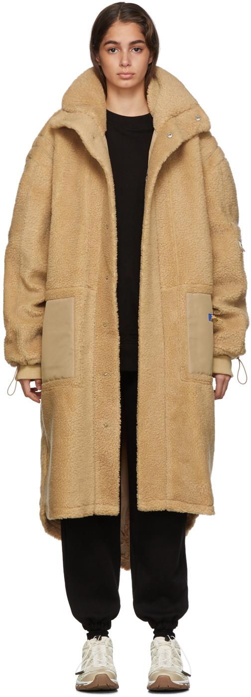 Ader Error Coats Beige Teddy Fishtail Parka