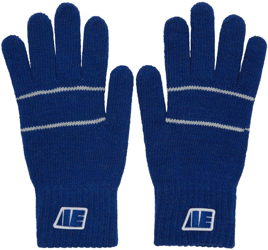 Ader Error Gloves Blue Centre Stripe Gloves