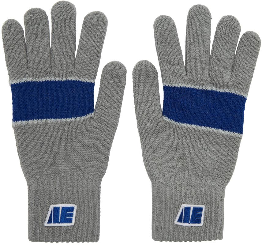 Ader Error Gloves Grey Centre Stripe Gloves