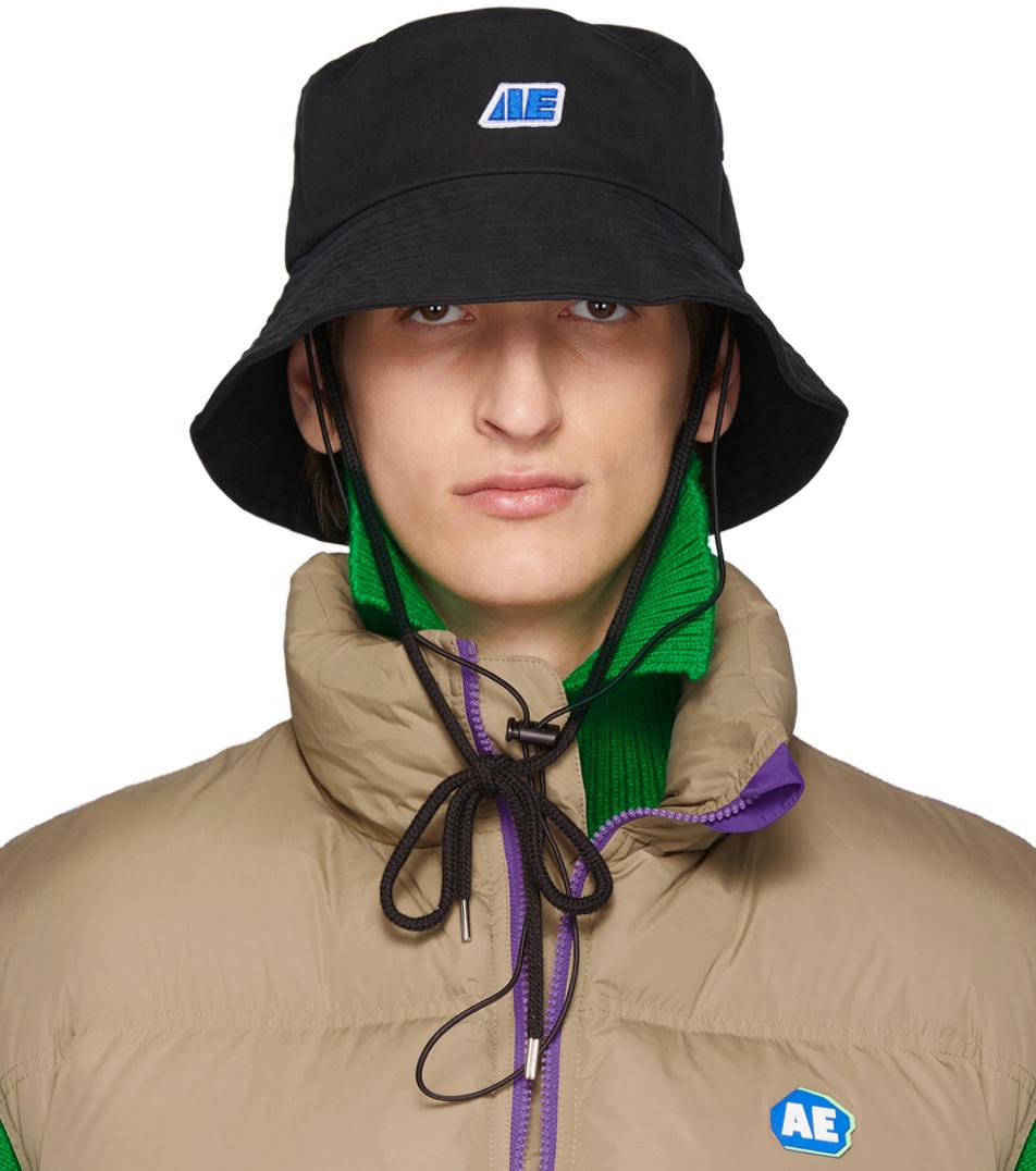 Ader Error Hats Black AE Logo Bucket Hat