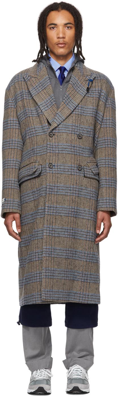Ader Error Coats Brown & Blue Wool Sherlock Double Coat