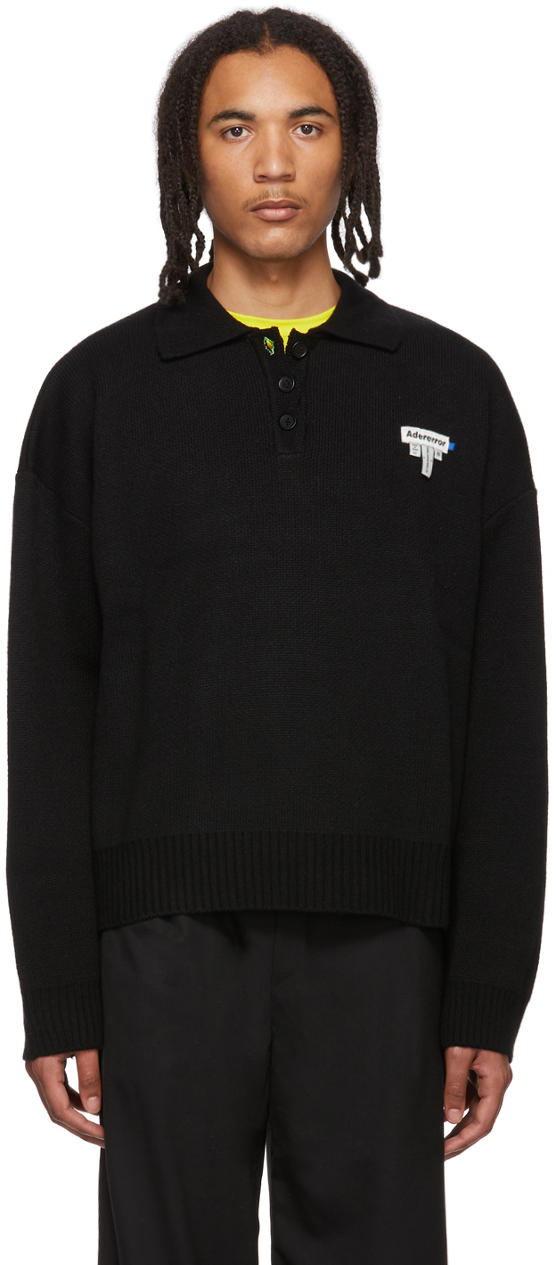 Ader Error Knits Black Dery PK Knit Polo