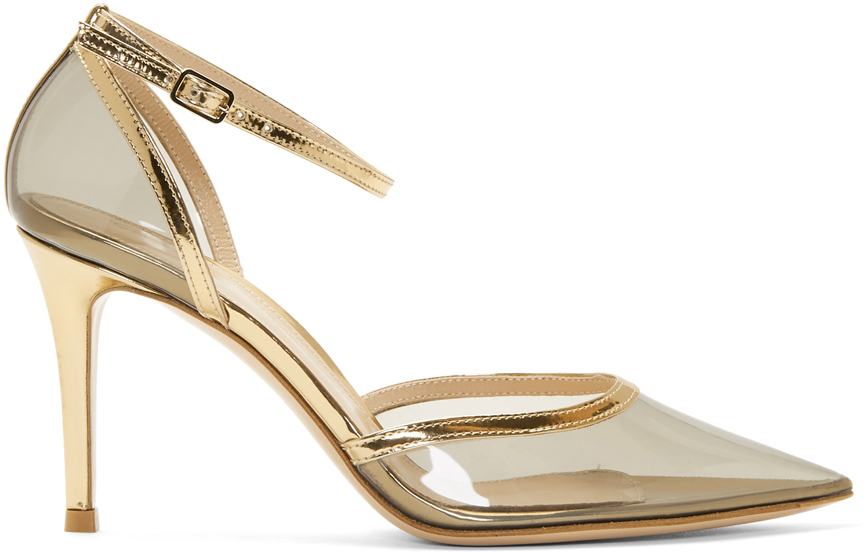 Gianvito Rossi Shoes Grey & Gold Plexi Ankle Strap 85 Heels