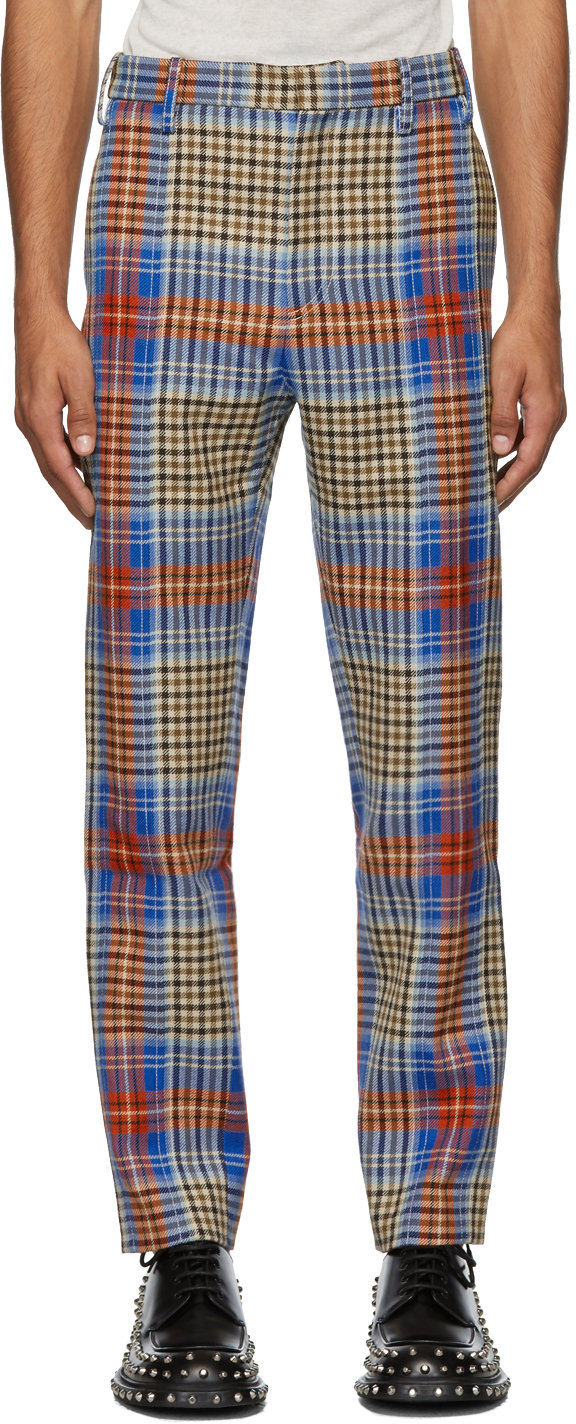 Charles Jeffrey Loverboy Pants Multicolor Tartan Column Suit Trousers