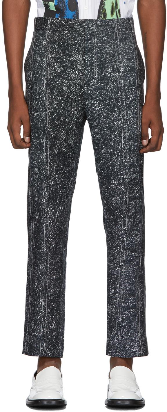 Charles Jeffrey Loverboy Pants Grey Scribble Print Column Trousers