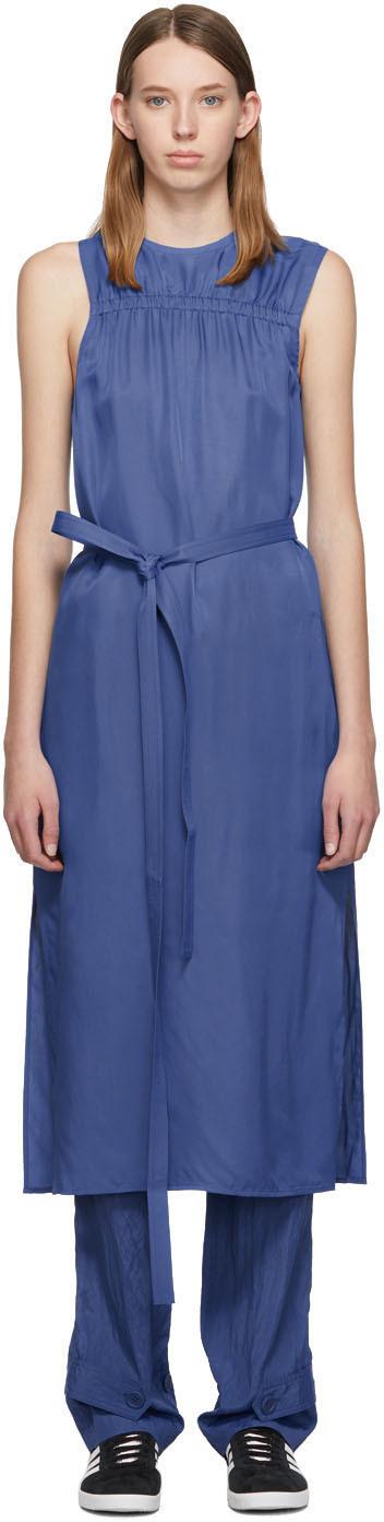 Helmut Lang Dresses Blue Viscose Mid Dress