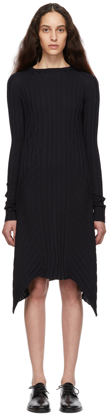 Helmut Lang Dresses Navy Fine Wool Rib Dress