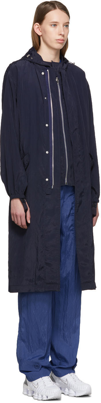 Helmut Lang Coats Navy Sheer Parka