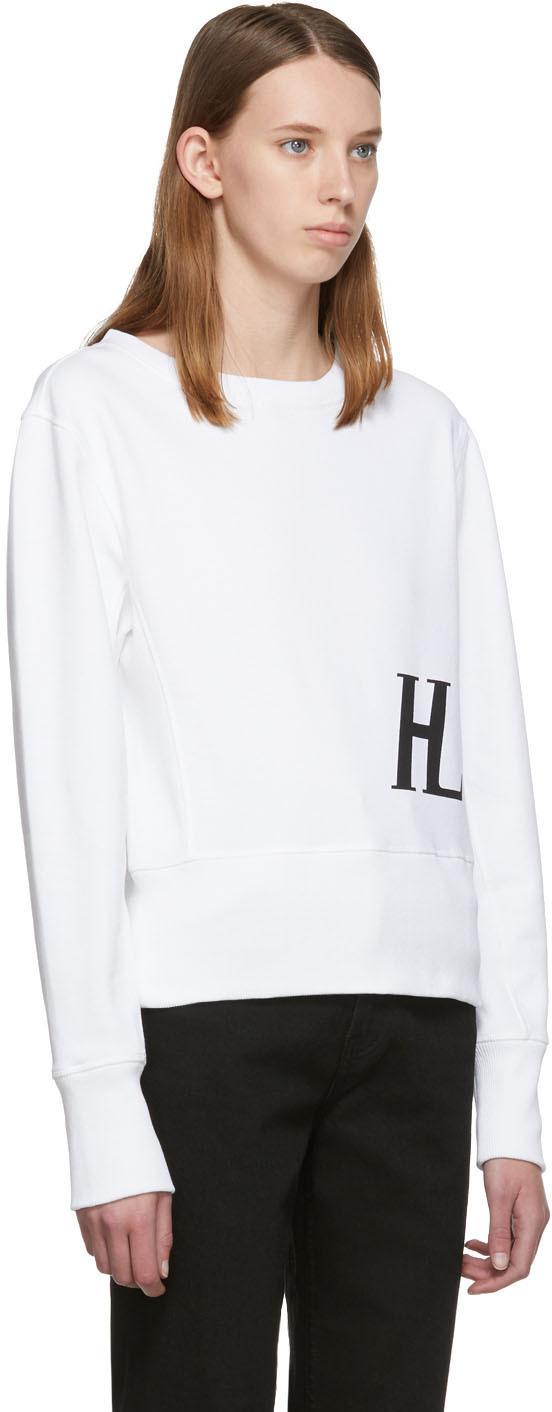 Helmut Lang T-shirts White Femme Crew Sweatshirt