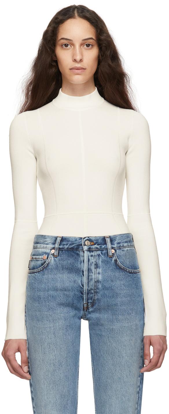 Helmut Lang Suits Off-White Viscose Bodysuit