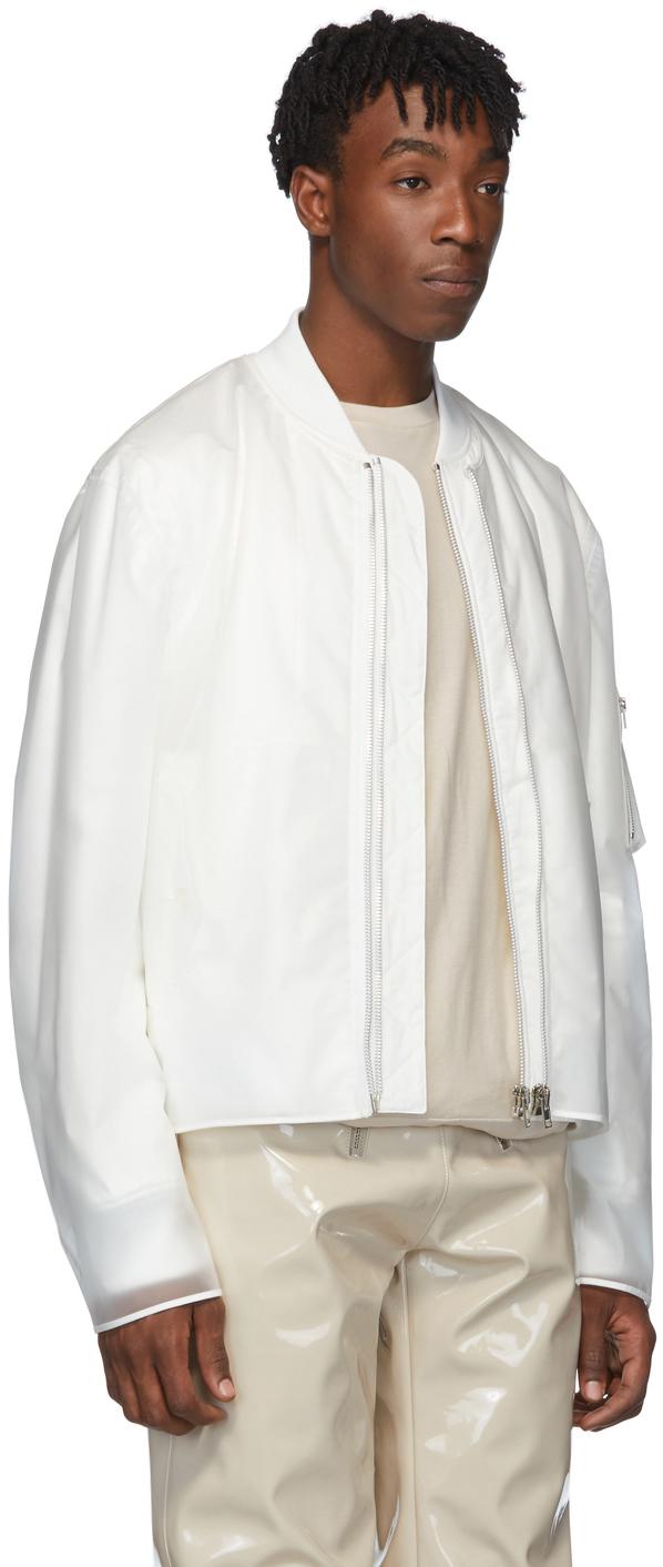 Helmut Lang Jackets White Sheer Rubber Bomber Jacket
