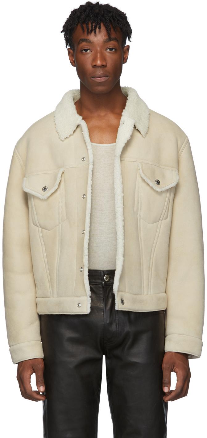Helmut Lang Jackets Off-White Shearling Masc Trucker Jacket