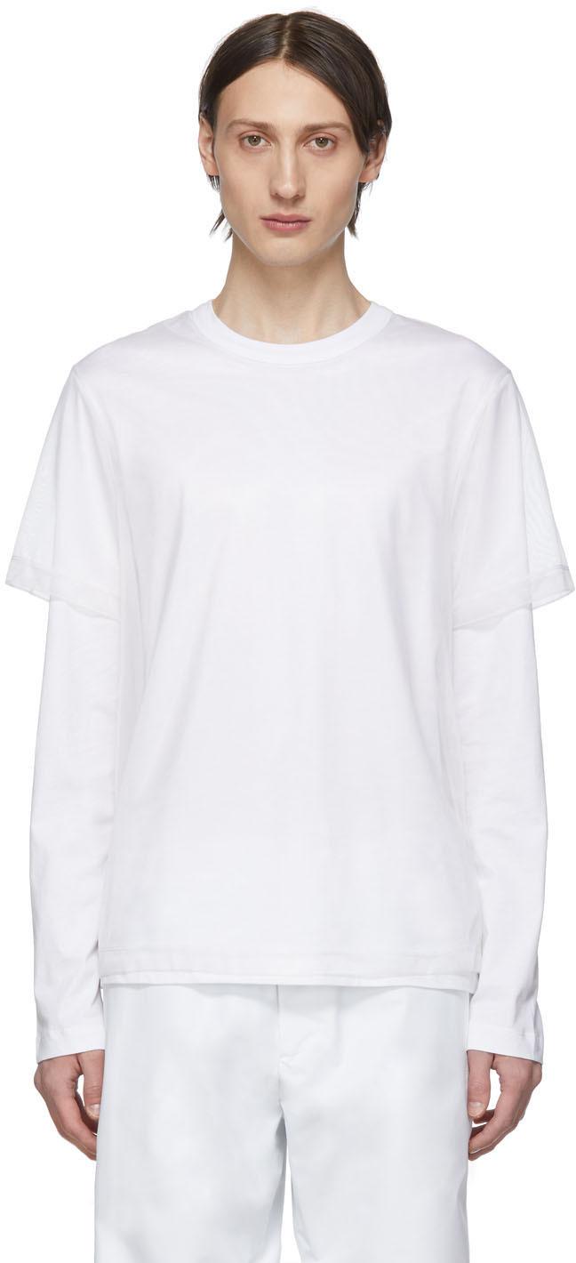 Helmut Lang T-shirts White Double Long Sleeve T-Shirt
