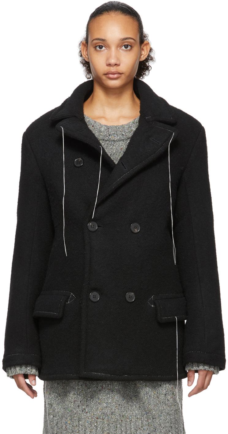 Maison Margiela Jackets Black Wool Herringbone Jacket