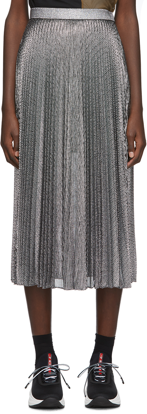 Christopher Kane Skirts Silver Lamé Mesh Pleated Skirt