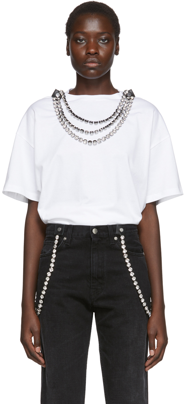 Christopher Kane T-shirts White Detachable Crystal T-Shirt