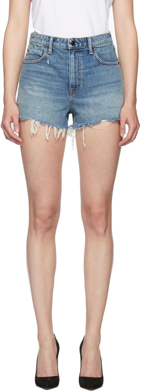 Alexander Wang Shorts Blue Denim Bite Shorts
