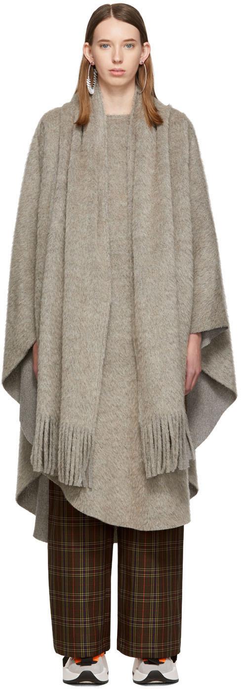 Mm6 Maison Margiela Coats Grey Raw Edge Scarf Poncho
