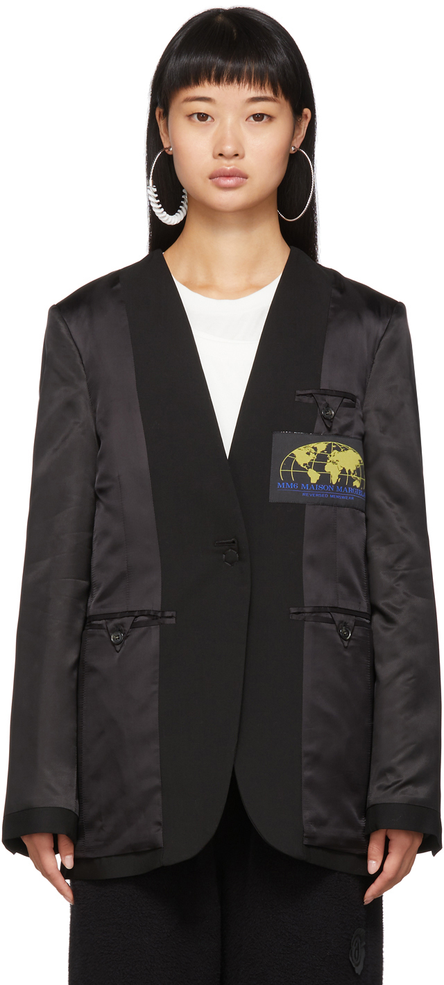 Mm6 Maison Margiela Blazers Black Inside-Out Blazer
