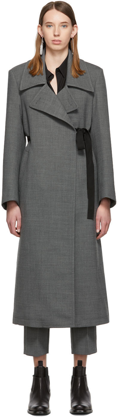 Mm6 Maison Margiela Coats Grey Wool Coat