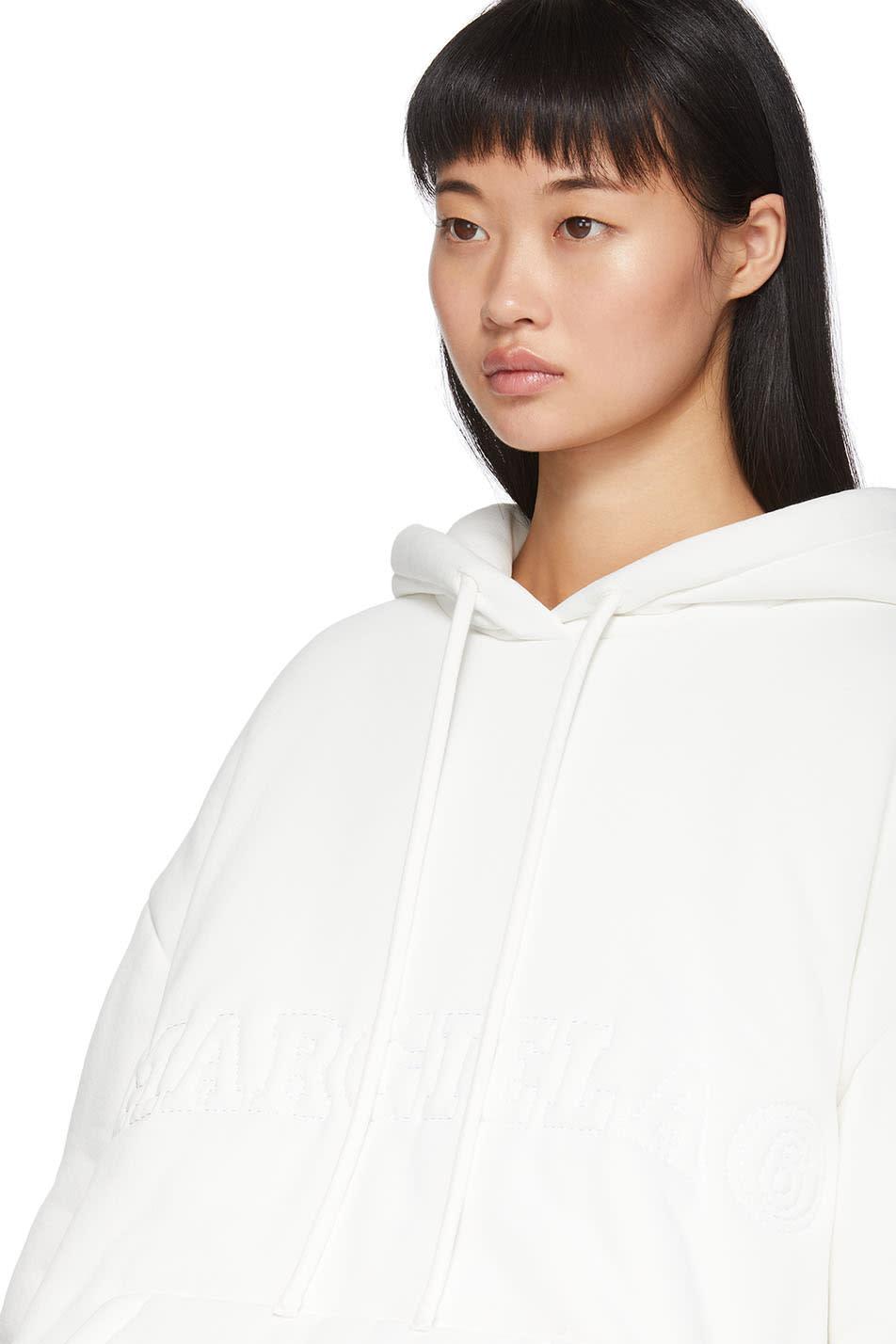 Mm6 Maison Margiela Accessories White Padded Logo Hoodie