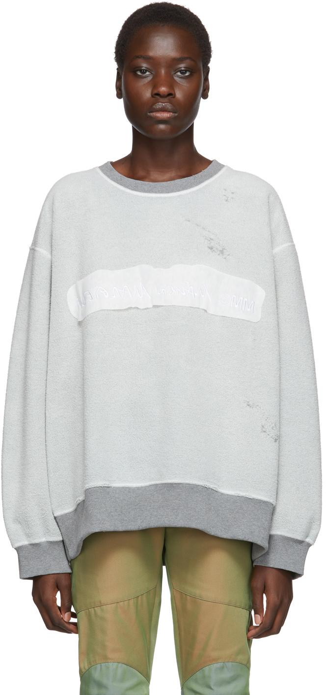 Mm6 Maison Margiela T-shirts Reversible Grey Inside Out Logo Sweatshirt