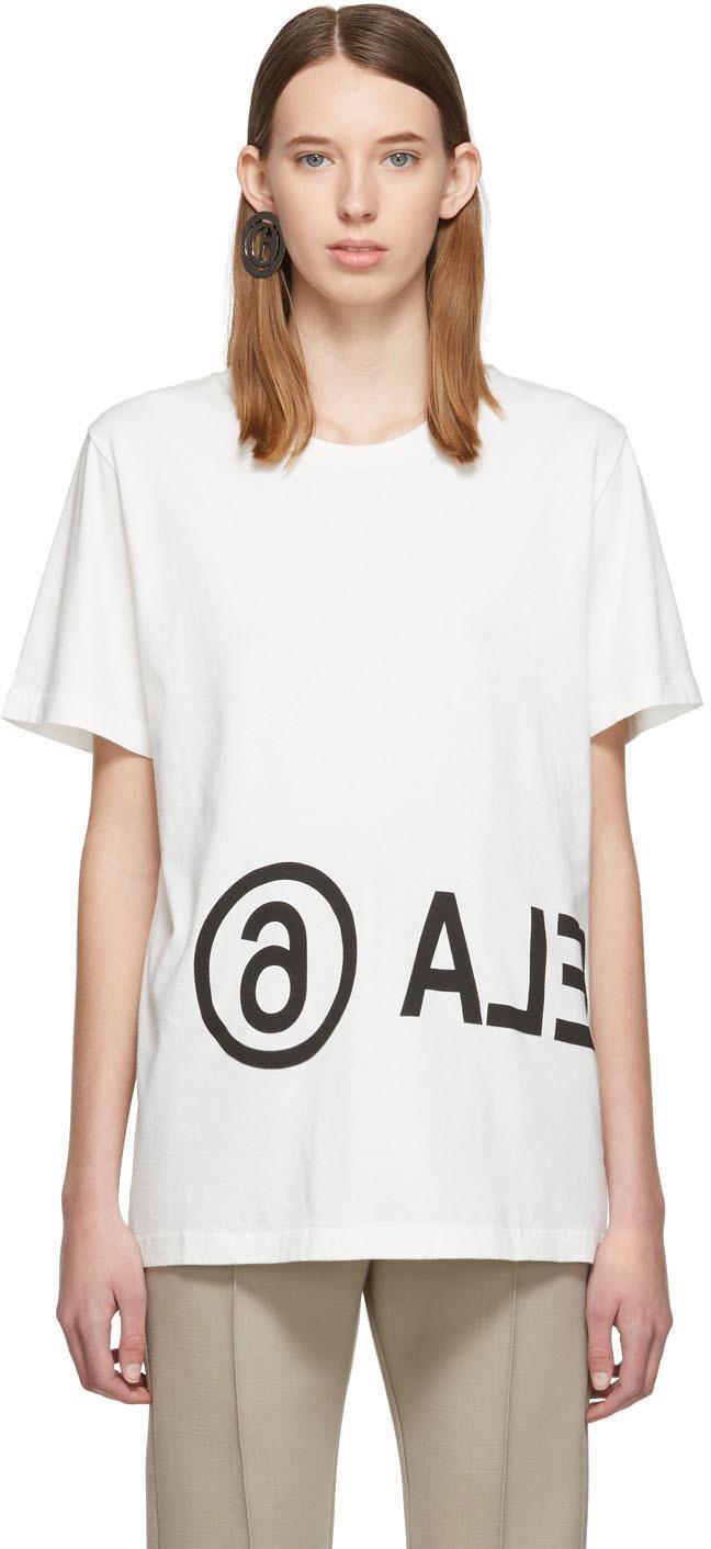 Mm6 Maison Margiela T-shirts Off-White Oversized Logo T-Shirt
