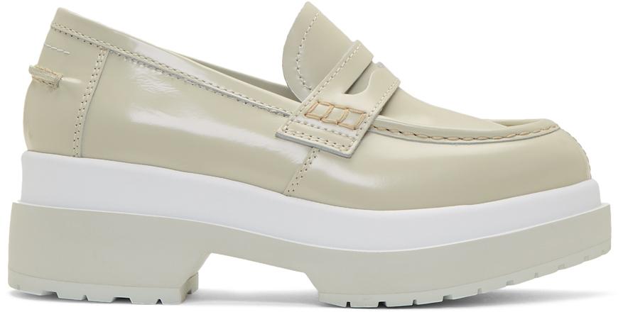 Mm6 Maison Margiela Loafers Green & White Platform Loafers