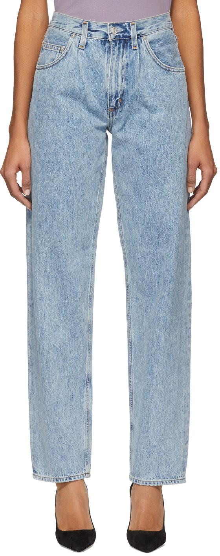 Agolde Jeans Blue Pleats Baggy Oversized Jeans